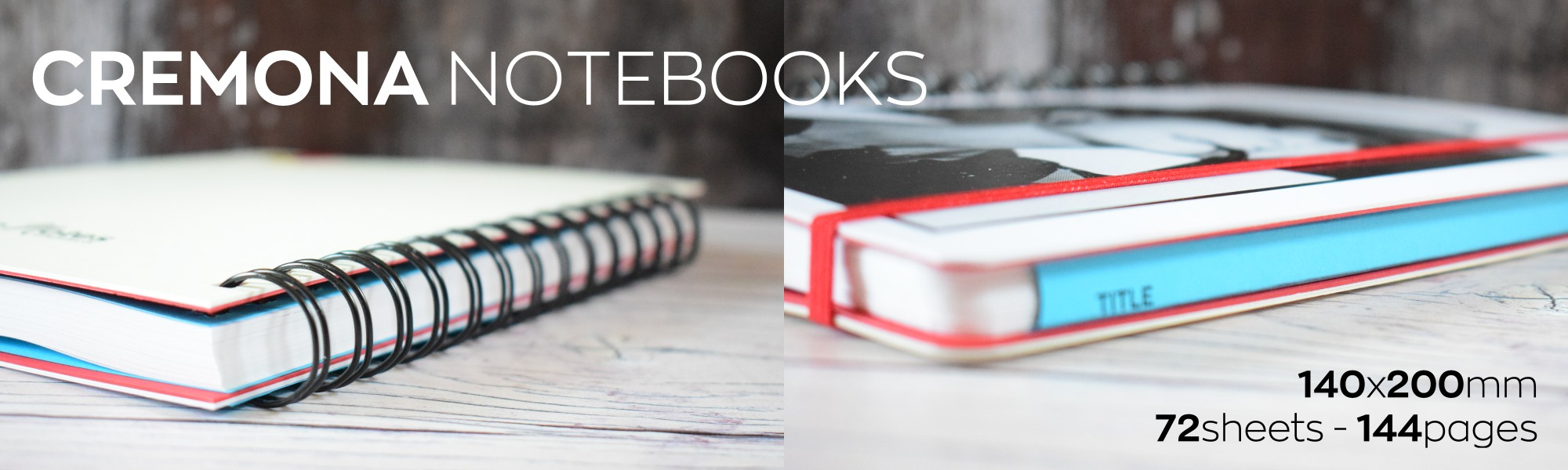 Cremona notebooks are hard-backed wire bound notebook with delectable 85gsm soft milky white pages