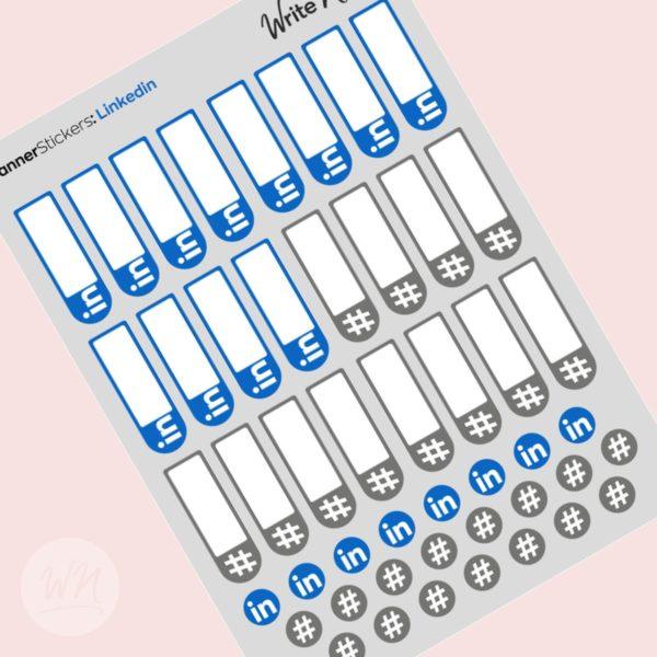 social media planner stickers linkedin hashtags